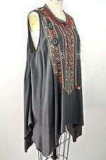 Johnny Was Tunic Top Gray Colorfull Bohemian Sleeveless Blouse L Maternity