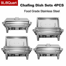 4Pack Chafer Chafing Dish Sets Rectangular Dish Catering Pan Stainless Steel