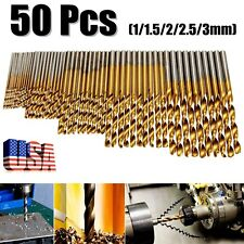 Mohoo 50Pcs 1/1.5/2/2.5/3mm HSS Shank High Speed Steel Titanium Drill Bit Set US