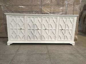 Indian Wooden Sideboard 4 Door White (MADE TO ORDER)