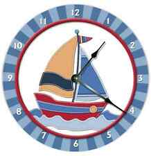 WALL CLOCK SAILBOAT Nursery Art Baby Toddler Room Decor Nursery Sailing Clock