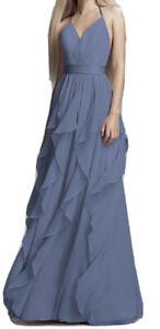 VERA WANG WHITE Dress Steel Blue Long Maxi Chiffon Cascading Skirt Bridesmaid 12