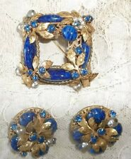 MAGNIFICENT ROBERT BROOCH,PENDANT LAPIS,PEARLS,RHINESTONES GOLD LEAVES SET