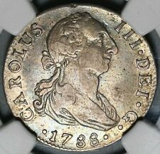 1788-S NGC VF 30 Spain Charles III 2 Reales Seville Silver Coin (20102402C)
