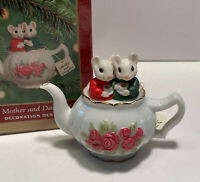 Hallmark Mother and Daughter Ornament Porcelain Mice in Teapot Vintage 2000