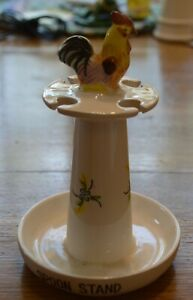 Vintage Rooster Spoon Stand Rest 6 1/2 in 4 spoons