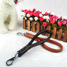12'' Genuine Leather Short Dog Leash Pet Traffic Lead for Large Dogs Black Brown