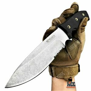 """10"""" Fixed Blade Knife 5"""" Partially Serrated Blade Camping Knife Survival Knife"""