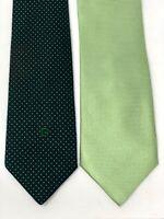 PIERRE CARDIN Lot of 2 Men's Neck Ties - Green Pin Dot & Solid Light Green