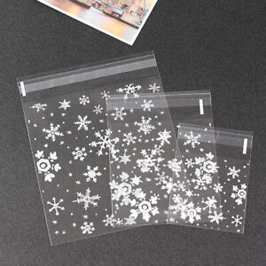 4 Size Clear Snowflake Cello Cellophane Christmas Party Favour Biscuit Gift Bags
