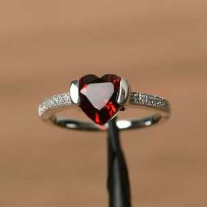 2.20Ct Heart Cut Red Garnet Solitaire Engagement Ring 14K White Gold Finish