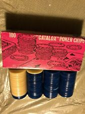 100 Vtg Catalox Blue And White Poker Chips Games And Crafts