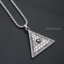 Men's Illuminati Egyptian All Seeing Eye Pendant Necklace Silver Stainless Steel