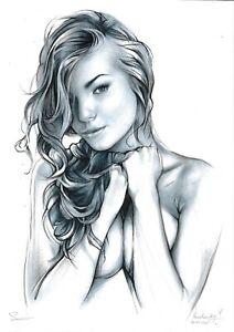 original drawing A4 202NJ art samovar oil dry brush female nude half-naked