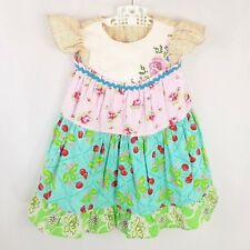 Mismatched Molly Flutter Dress Embroidered Floral Cherries 4 5 6 Custom OOAK