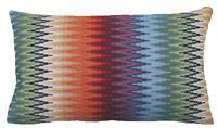 Oriental Cushion Cover Zig Zag Orange Green Black Blue Woven Fabric 50x30cm