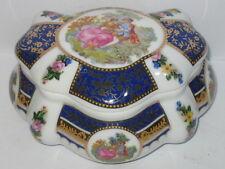 Porzellan Dose Deckeldose Bonboniere, mit Nostalgie Motiv Liebespaar, 12x10x7cm