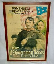 ANTIQUE HEYWOOD 3RD LIBERTY LOAN U S GOVERNMENT BONDS FLAG 6-A LITHOGRAPH POSTER