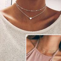 Women Simple Double Layers Chain Heart Pendant Necklace Choker Fashion Jewelry--