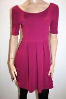 Ally Brand Wine Textured Pleat Skirt Skater Dress Size 12 BNWT #TP32