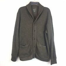 Woolrich L Mens Sweater Shawl Collar Brown Cotton Knit Button Nordic Cardigan