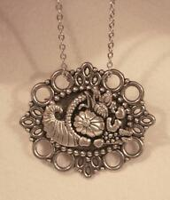 Lovely Scallop Picot Rim Textured Thanksgiving Cornucopia Silvertone Necklace