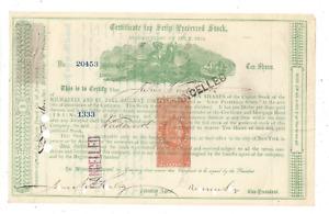 Stk Milwaukee & St, Paul Ry 1872 Green s/p Russel Sage RN-Q1 Imprinted Stamp