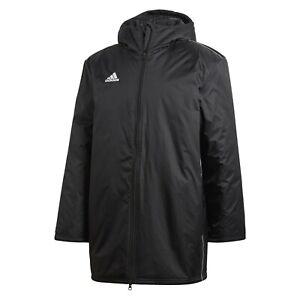 adidas Rain Jacket Sports Football Core 18 Stadium Hiking Long Coat Black Blue