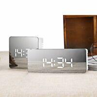 Digital Alarm Clock Bedroom LED Mirror Snooze Display USB Battery Desk Clocks