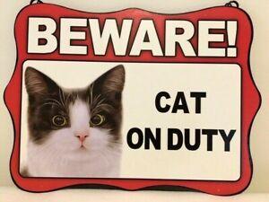 CAT NO2 ~ BEWARE~ HANGING METAL CAT SIGN ~ NEW
