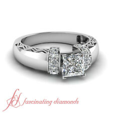One Carat Princess Cut Conflict Free Diamond Thick Engagement Ring Pave Set GIA