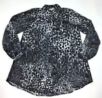 CABI Women's Sheer Button Down Shirt Top Blouse Dots Print Black White L/S Sz XS