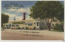 Linen Steve's Cheese Denmark Wisconsin Postcard