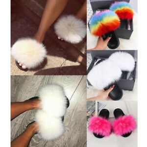 ClowMMM Womens Slippers Soft Slide Flat EVA Sandals with Fluffy Faux Fur