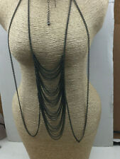 Fashion Necklace Gunmetal Multi Chain Flapper Look Draping Long Chain