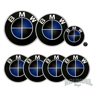 For BMW Badges - Gloss Black & Steel Blue - All Models Decals Wrap Stickers