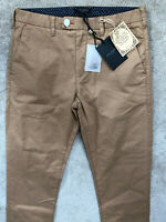 "TED BAKER BEIGE BROWN ""CHAADE"" CLASSIC FIT TROUSERS PANTS CHINOS - 30R NEW TAGS"