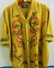 Pineapple Connection Hawaiian Style Shirt, S/S, XL, Light Yellow with Dragons