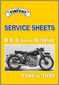 VINCENT Workshop Service Sheets Manual B C Series Comet & Meteor 1948 to 1955