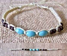 ANKLET TURQUOISE WOOD BEADS  COTTON CORD ADJUSTABLE BRACELET mens womens surfer