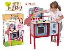 CUCINA PER BAMBINI GIOCATTOLO IN LEGNO CON FORNO E ACCESSORI H. 78 CM.