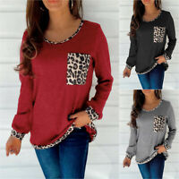 Ladies Knitted Leopard Jumper Loose Women Long Sleeve Round Neck Pullover Tops