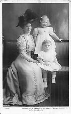 POSTCARD  ROYALTY    DENMARK    PRINCESS  ALEXANDER  of  TECK  with  Children