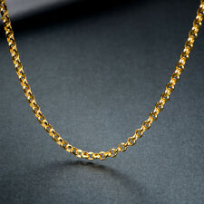 Classical Pure 18K Solid Yellow Gold Necklace / Men&Women Perfect Cable Chain
