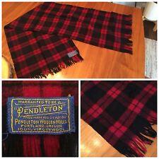 Vintage Pendleton 100% Wool Scarf Neck Accessory Plaid Black Blue Red Pink