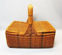 Vintage Wicker Picnic Basket Hand Woven Classic