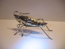 NEW Tin Chrome metal grasshopper figurine 12.5cm