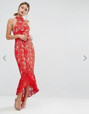 Jarlo Lace High Neck Midi Dress Red Size 8 RRP$215