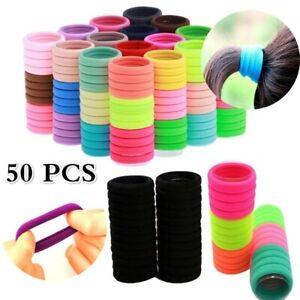 50Pcs Women Girls Hair Bands Ties Rope Rings Elastic Hairband Ponytail Holder AU