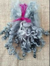 Hand Dyed Quality Wensleydale, Locks curls, GREY Dolls hair, needle felting
